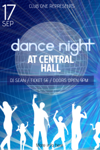 blue dance night flyer template