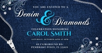 Blue Denim and Diamonds Invite Facebook Post template