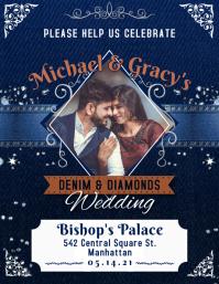 Blue Denim and Diamonds Wedding Invite Flyer template