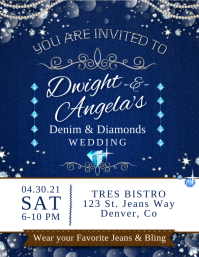 Blue Denim and Diamonds Wedding Invite Flyer Ulotka (US Letter) template