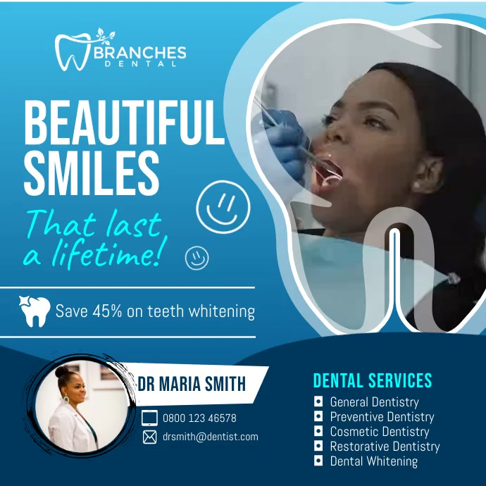 Blue Dentist Clinic Ad Square Video Carré (1:1) template