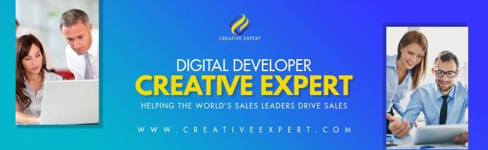 Blue Digital Developer Linkedin Career Cover template
