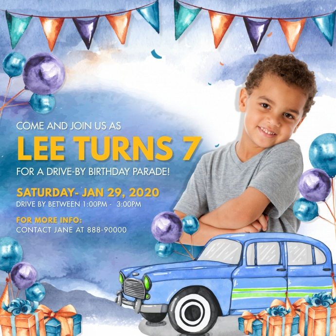 Blue Drive-by Birthday Invite Instagram Post Square (1:1) template