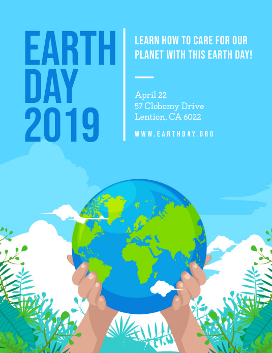 Blue Earth Day 2019 Flyer template