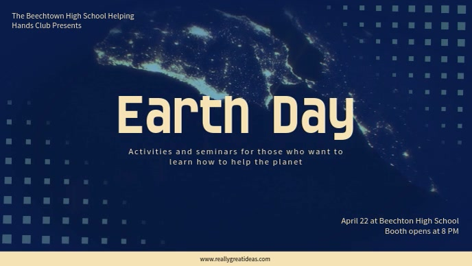 Blue Earth Day Celebration Video Ad Template Facebook-covervideo (16:9)