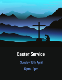 Blue EasterScene Flyer (US Letter) template