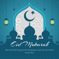Blue Eid Mubarak Wish Square Video template