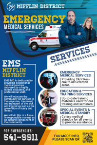 Blue Emergency Medical Services Poster Templa template