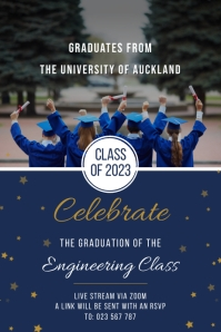 Blue engineers graduation banner template