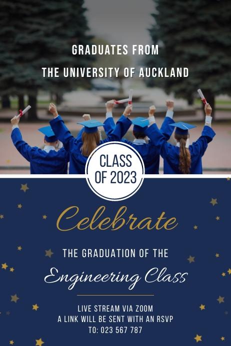 Blue engineers graduation banner 横幅 4' × 6' template