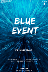 Blue event party flyer template