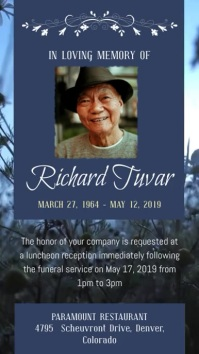 Blue Farewell Funeral Display Poster