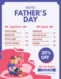 Blue Father's Day Menu with Illustrations