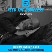 Blue Feed the Homeless Charity Ad Square (1:1) template
