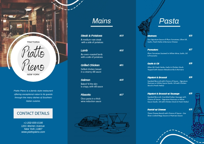 Blue Fine Dining Eatery Leaflet A5 template
