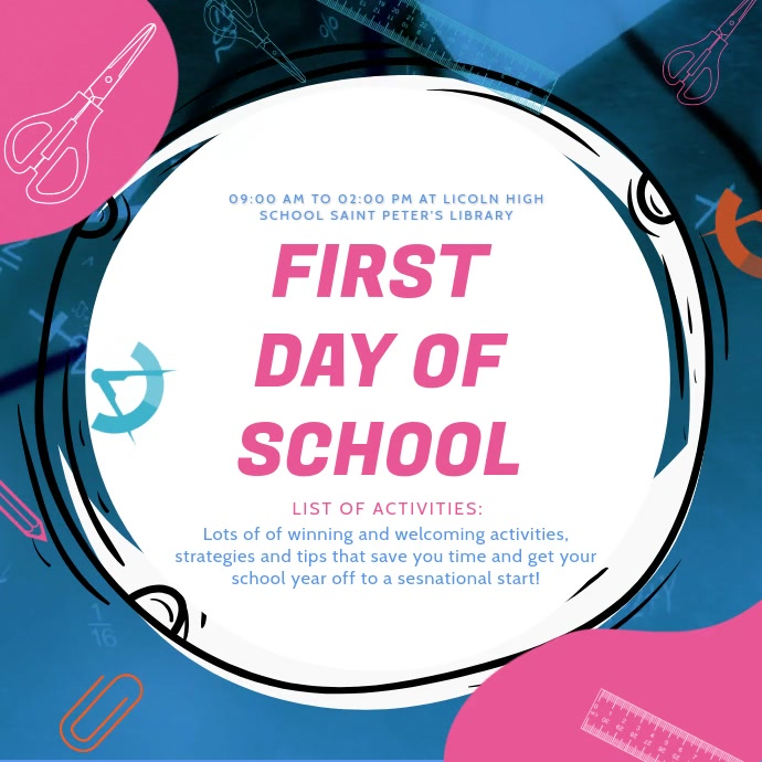 Blue First Day of School Online Ad Kwadrat (1:1) template