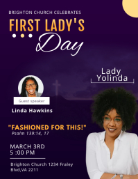Blue First Lady's Day Church Flyer Template 传单(美国信函)