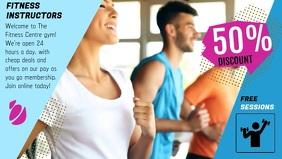Blue Fitness Center Advert Facebook Cover Video