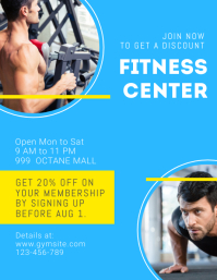 Blue Fitness Center Pamphlet Ulotka (US Letter) template