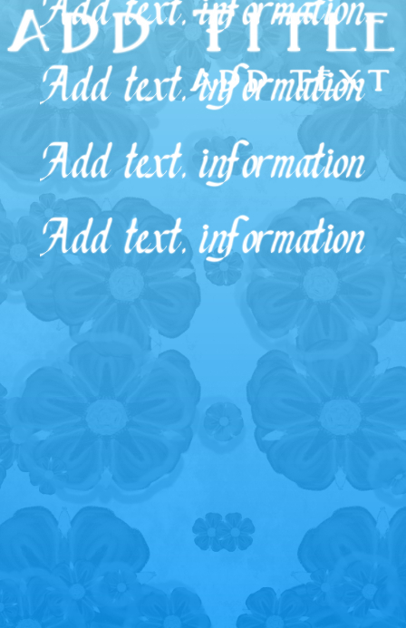 blue floral background and white text