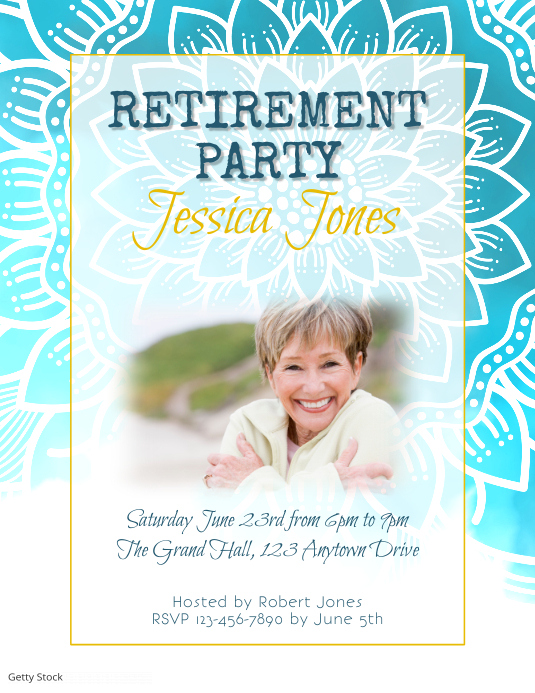 Blue Floral Retirement Party Invitation 传单(美国信函) template