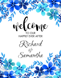 Blue Floral Wedding Welcome Sign Poster/pannello template