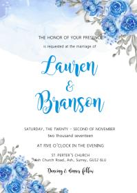 Blue flower shower wedding invitation A6 template