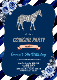 Blue flower silver horse invitation A6 template