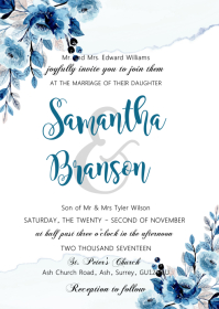 Blue flower watercolor invitation A6 template
