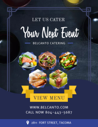 Blue Food Cartering Service Restaurant Flyer ใบปลิว (US Letter) template