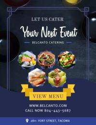 Blue Food Cartering Service Restaurant Flyer