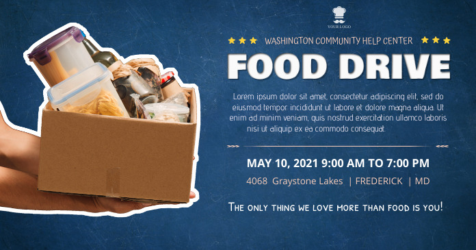 Blue Food Drive Campaign Facebook Post Templa template