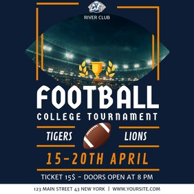 Blue Football College Tournament Square Video