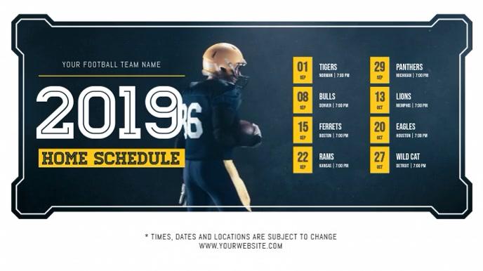 Blue Football Schedule Digital Display Video งานแสดงผลงานแบบดิจิทัล (16:9) template