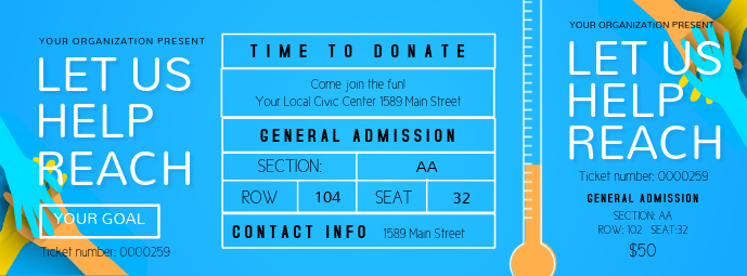 Blue Fundraising Event Ticket Facebook Cover