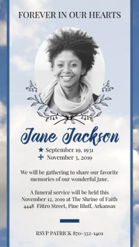 Blue Funeral Celebration of Life Display Post template