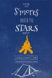 Blue Funky Bonfire Poster