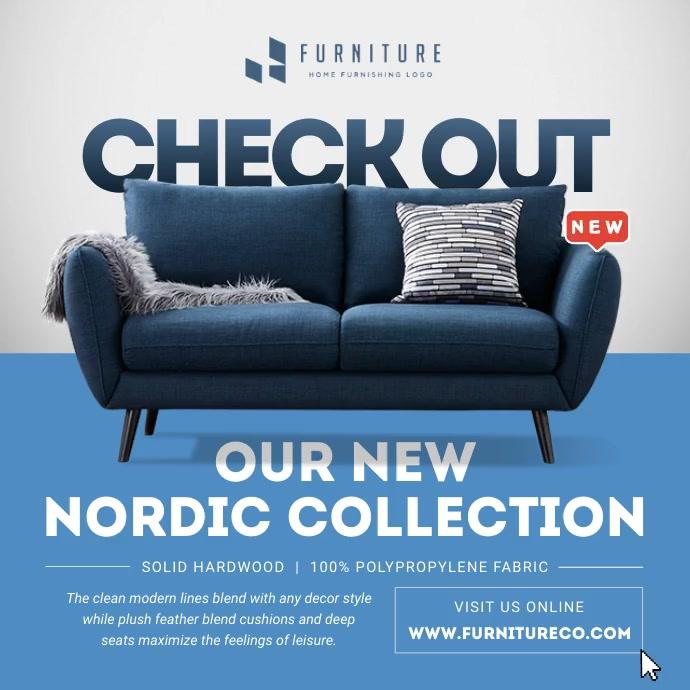 Blue Furniture Ad Instagram Image template
