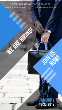 Blue Geometric Job Vacancy Instagram Story Ad