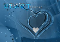 Blue Glass Heart Gaming Design A6 template