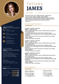 Blue Gold Curriculum vitae design template A4