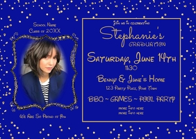 Blue Gold Photo Graduation Invitation