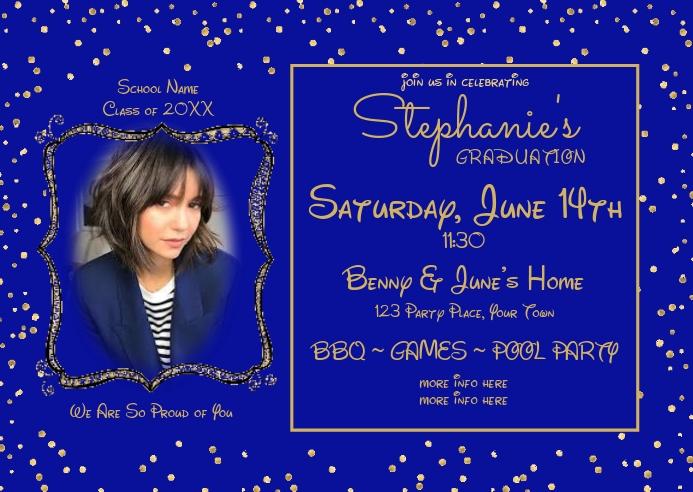 Blue Gold Photo Graduation Invitation Postal template