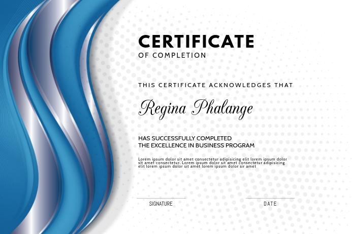 Blue graduation certificate diploma template