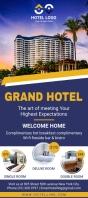 Blue grand hotel rack card template