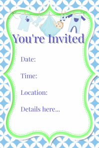 Blue Green Baby Boy Shower Invitation Flyer Poster Event