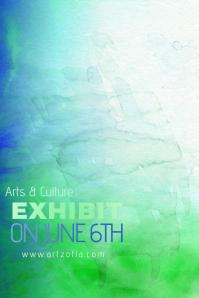 Blue Green Colorful Paint Simple Modern Event Club Venue Art