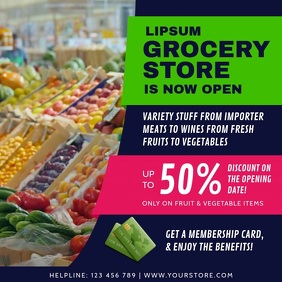 Blue Grocery Story Retail Ad Square Video template