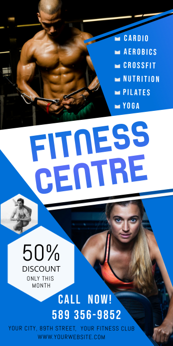 Blue Gym & Fitness Roll up Banner Rolbanner 3' × 6' template
