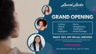 Blue Hair Salon Grand Opening Banner Facebook-Covervideo (16:9) template